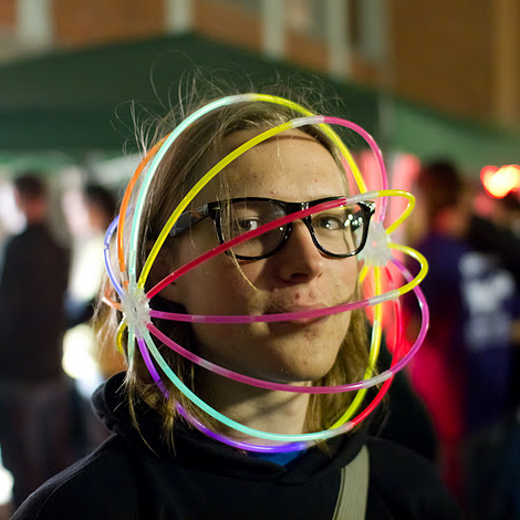 Me. With hipster glasses. And a sphere made of glowsticks around my head.